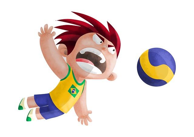 chlapec s volejbalovým míčem