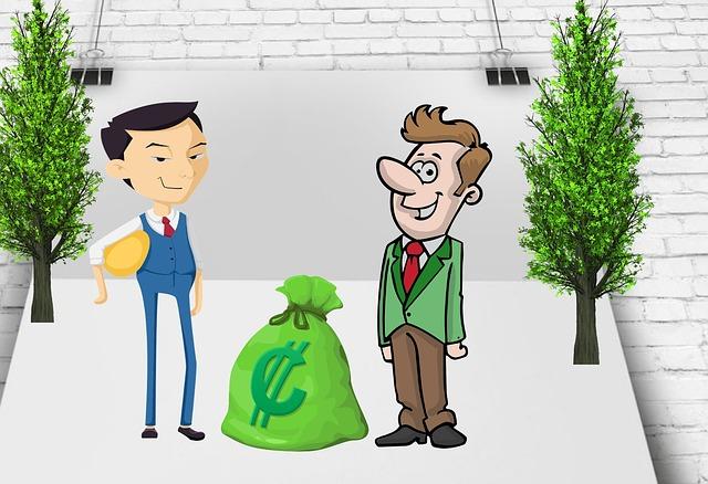 dvě kreslené postavy mužů stojící vedle pytle peněz